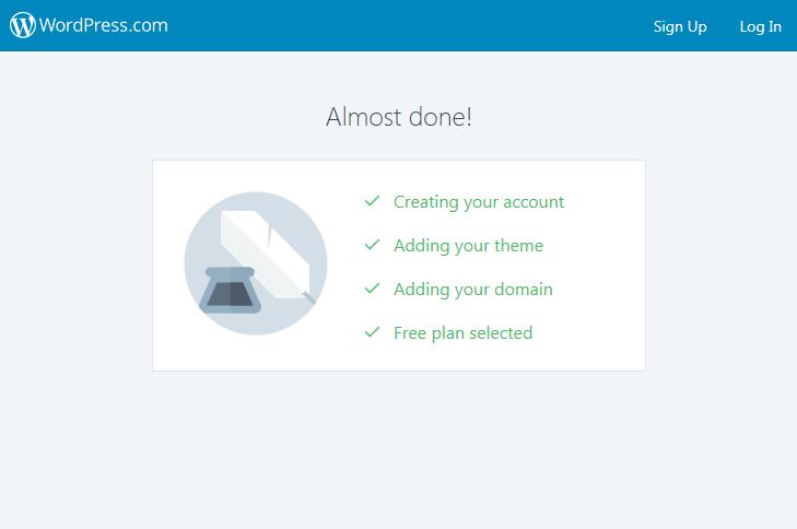 Pokud vidíte tuto obrazovku, tak už se vám váš blog zdarma vytváří.